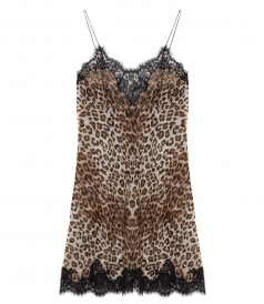 SALES - LEOPARD LINGERIE DRESS FT LACE DETAILING