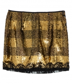 GOLD PAILLETTES MINI SKIRT WITH LACE