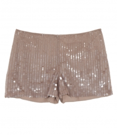 BEIGE SEQUINED SHORTS