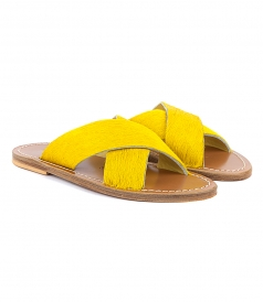 SANDALS - ARIS PONY FT WIDE CRISSCROSS STRAPS