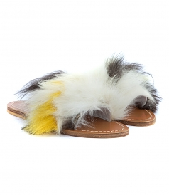 SANDALS - STRIPE MULTICOLORED FOX FUR TRIMMED FOX