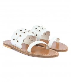 SANDALS - KYMA SCALLOPED FLAT SANDALS FT TRUCK DETAILING