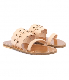 SHOES - KYMA SCALLOPED FLAT SANDALS FT TRUCK DETAILING