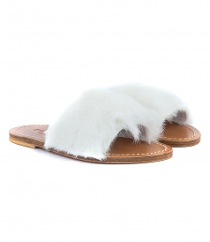 SANDALS - STRIPE FUR TRIMMED SANDALS
