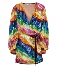 STRIPED SEQUINED MULTICOLORED DRESS