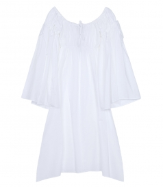 OFF THE SHOULDER RUCHED COTTON DRESS