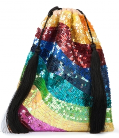 GEORGETTE CREPE BAG IN RAINBOW SEQUINS