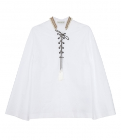 ETRO - EMBELLISHED LACE-UP BLOUSE
