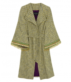 CHECKED COTTON BLEND COAT