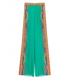 ETRO - SILK PRINTED WIDE LEG TROUSERS
