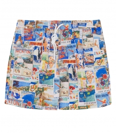 HARTFORD BEACHWEAR - SHORT LENGTH COLLAGE PRINTED SWIM SHORTS