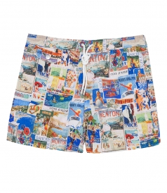 HARTFORD BEACHWEAR - COLLAGE PRINTED REGULAR SWIM SHORTS