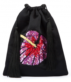 BAGS - SATIN EMBELLISHED POUCH BAG