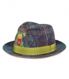 PRINTED FEDORA HAT FT GROSGRAIN BAND
