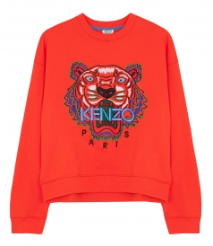 TIGER EMBROIDERED BOXY SWEATER