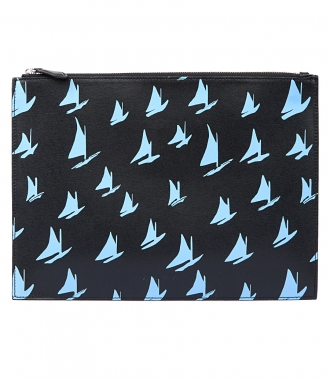 MARNI - DOCUMENT CASE IN BLUE LEATHER SAIL PRINT