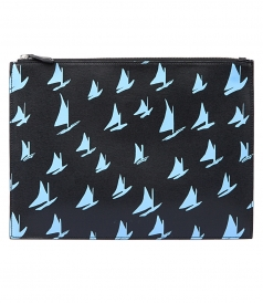 DOCUMENT CASE IN BLUE LEATHER SAIL PRINT