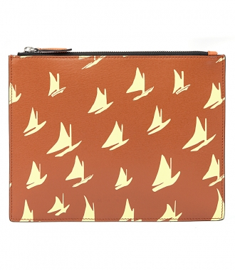 MARNI - DOCUMENT CASE IN YELLOW LEATHER SAIL PRINT