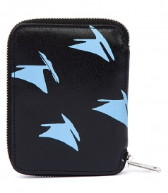 MINI WALLET IN BLUE LEATHER SAIL PRINT