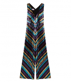 JUMPSUITS - SEQUINED CHEVRON STRIPED JUMPSUIT