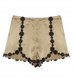 CLOTHES - SLIP SATIN SHORTS FT CROCHET TRIM DETAILING
