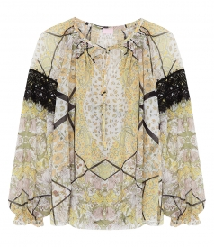 MULTI-PRINTED BLOUSE FT LACE DETAILING