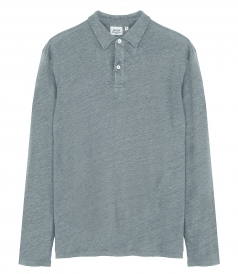 LINEN LONG SLEEVE POLO SHIRT