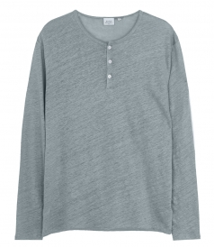 CLOTHES - LINEN LONG SLEEVE HENLEY