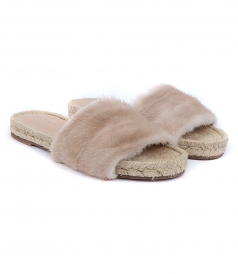 STRIPE BEIGE VISON FUR SANDALS FT ESPADRILLE SOLE