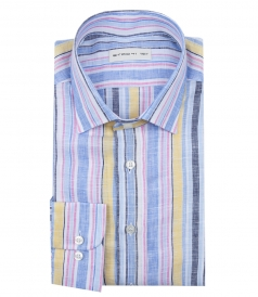JAQUARD MULTICOLORED STRIPED SHIRT
