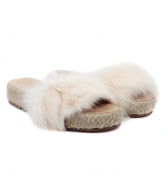 STRIPE FOX FUR SLIDE SANDALS FT ESPADRILLE SOLE