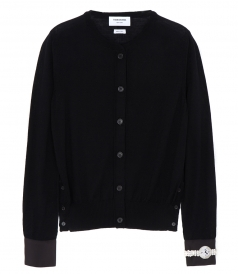 CREWNECK MERINO WOOL CARDIGAN FT JEWELERY APPLIQUE