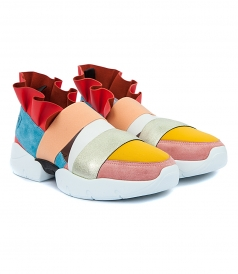 SLIP-ON MULTICOLORED RUFFLED SNEAKERS