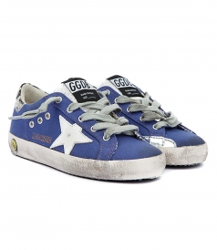GOLDEN GOOSE  - SUPERSTAR SNEAKERS IN VIOLET FT LEOPARD HEEL COUNTER