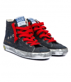 SHOES - FRANCY SNEAKERS IN BLACK DENIM FT RED LACES