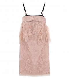 CLOTHES - LACE SHIFT DRESS FT OSTRICH FEATHERS