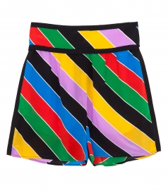 MULTICOLOR SILK STRIPED SHORTS