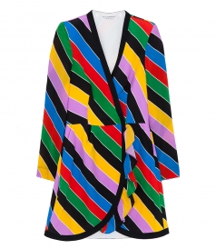 MULTICOLOR STRIPED WRAP DRESS