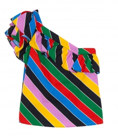 ONE SHOULDER MULTICOLOR STRIPED RUFFLED BLOUSE