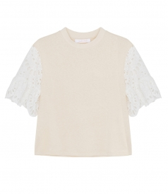 SEE BY CHLOE - LACE SLEEVE DETAILING T-SHIRT