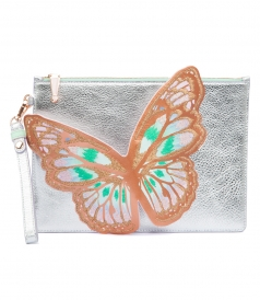FLOSSY EMBROIDERED BUTTERFLY POCHETTE