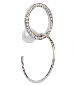 ACCESSORIES - TWINS LOOP WHITE DIAMONDS RIGHT MONO EARRING