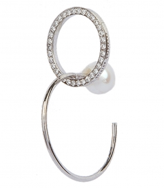 ACCESSORIES - TWINS LOOP WHITE DIAMONDS LEFT MONO EARRING