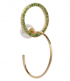 ACCESSORIES - TWINS HOOP EMMERALDS RIGHT MONO EARRING
