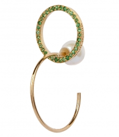 ACCESSORIES - TWINS HOOP EMMERALDS LEFT MONO EARRING