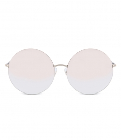 MATTHEW WILLIAMSON - 170 C21 ROUND SUNGLASSES FT CHAMPAGNE MIRRORED NYLON LENSES
