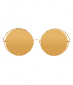 SUNGLASSES - LINDA FARROW 680 C1 ROUND GOLD SUNGLASSES