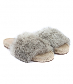 SHOES - STRIPE ESPADRILLE FT GREY FUR
