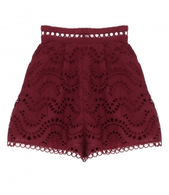PERFORATED FLARED SHORTS IN BRODERIE ANGLAISE