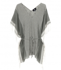 SHORT FRINGED V-NECK TUNIC